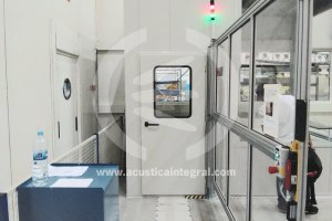 Acoustic booth for protection of workers in industry.