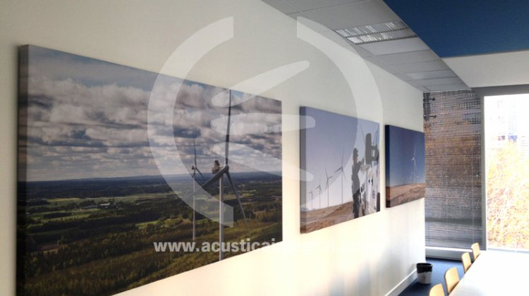 Absorbent acoustic panels with silk-screen printing