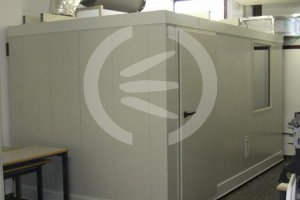 Enclosure to house laboratory model gas turbine.